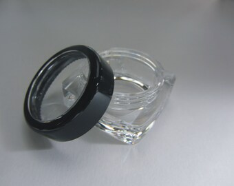 25 BMS Cosmetic Containers Thick Wall Square Plastic Jars - 10 Gram (Black Trim Lids) 3089-25   FREE US Shipping