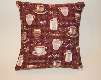 Coffee Pillow Cover, Coffee Lover Gift