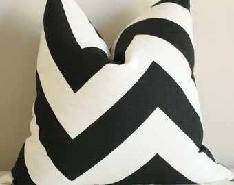 Large Black Chevron Pillow Cover