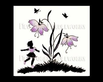 Girl Cross Stitch Pattern, Cross Stitch, Silhouette Flowers, Needlepoint, Flowers Cross Stitch, Pink Flowers NewYorkNeedleworks on Etsy