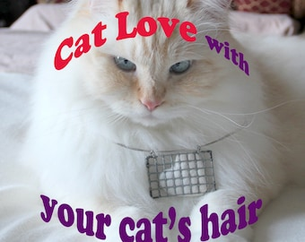 Cat Luv necklace with YOUR CAT'S hair