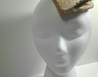 Tan Feathered Fascinator with Pearl Accents