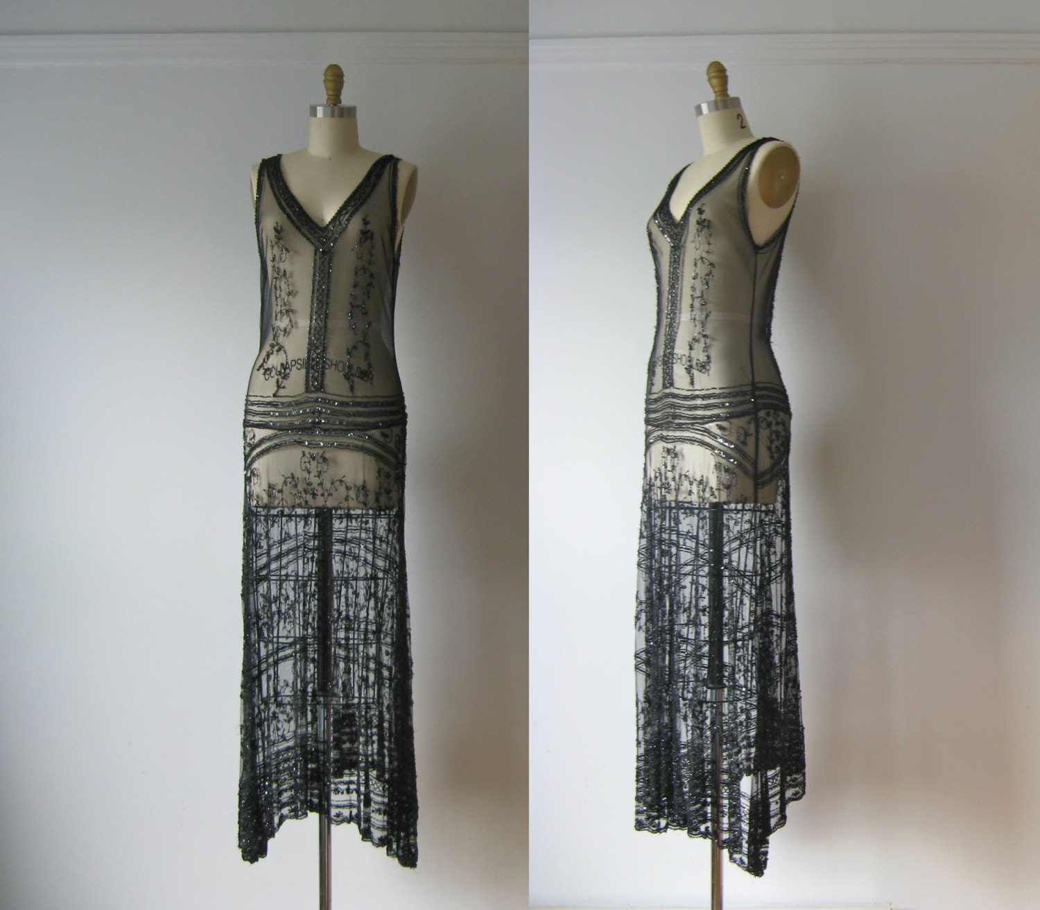 vintage 1920s dress 20s beaded flapper dress