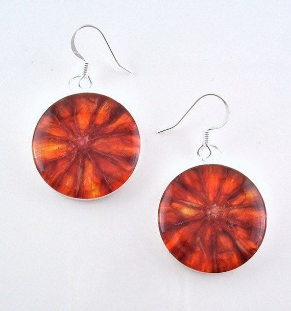 Blood Orange Earrings - Real Fruit Jewelry - Vegan Earrings