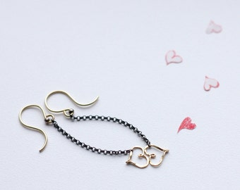Heart Earrings, Mixed Metal Earrings, Silver and Gold Earrings, Valentines Day Gift For Her