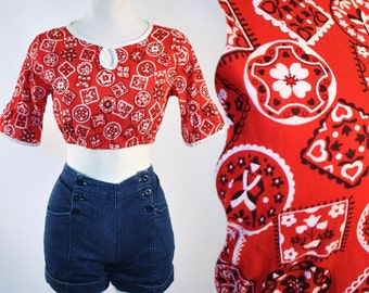 Vintage 1960s 70s RED BANDANA Crop Blouse TOP 50s Rockabilly Hippie PinUp S Small M Medium