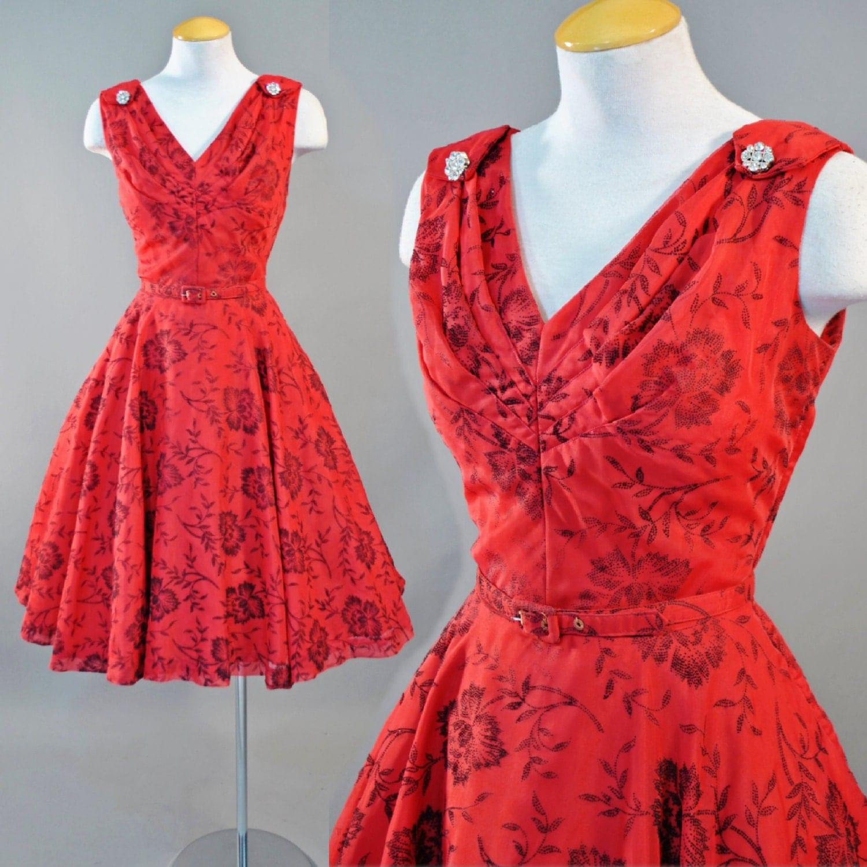 Vintage 1950s Vixen Red Illusion Floral Sheer Rhinestone Full