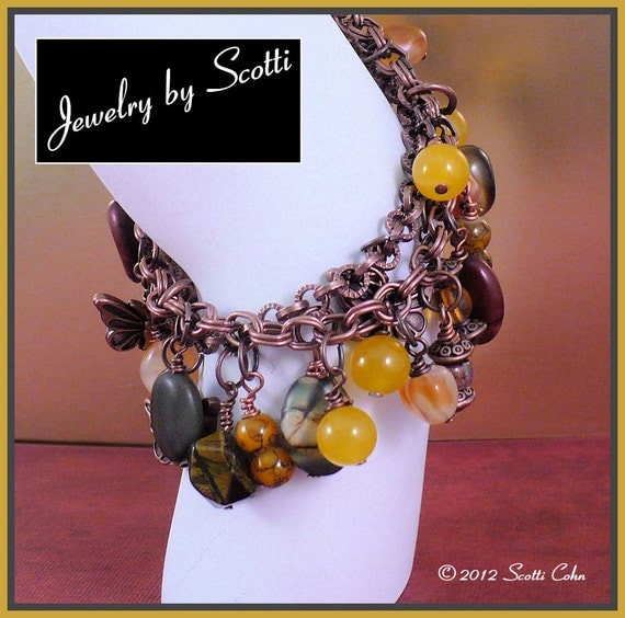 Copper Chain Gemstone Butterfly Charm Bracelet