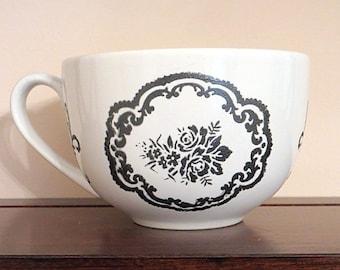 Painted Coffee Mug, Fleur de Lis, Black and White