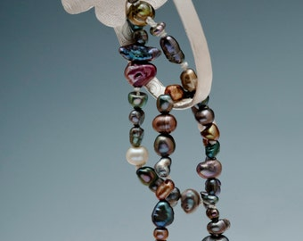 Cascade1 Sterling Silver Colored Pearls Pendant