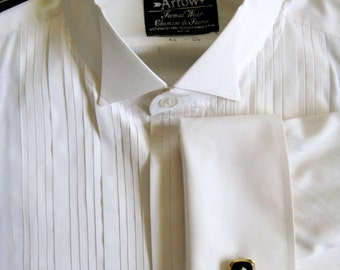 Vintage Arrow 1980s Shirt Off White Pleated Tuxedo French Cuff Mens Shirt 16.5