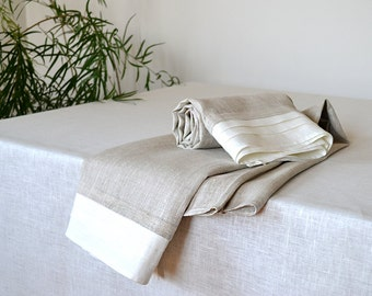 Organic Natural Linen Towels With White Folds Edge  Pre-washed Undyed Towels 42 x 55 inches