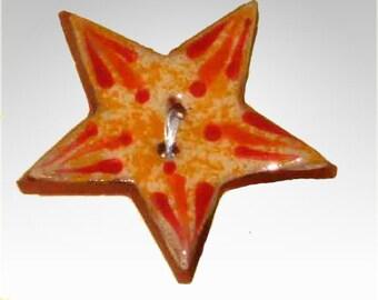 Handmade ceramic buttons - orange star button C18