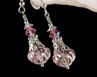 Pink Jeannie Bottle Victorian Earrings, I Dream of Jeannie Crystal Dangle Silver Filigree Drops Titanic Temptations Edwardian Bridal Jewelry
