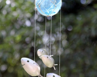Spoon fish wind chimes antique and unique great nautical for Koi fish wind chime