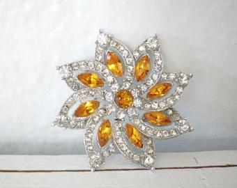 Vintage Bogoff Rhinestone Flower Brooch Pave Set Clear Orange Rhinestones Bridal Mid Century Costume Jewelry Silver Tone GallivantsVintage