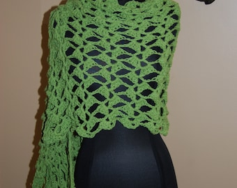 Green Cotton Crochet Shawl