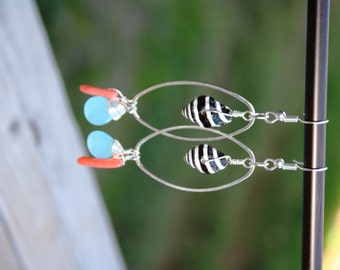 Shell Jewelry Hawaiian Jewelry Beach Jewelry Hawaii Jewelry Sea Shell Earrings Seashell Earrings Quartz Earrings Coral Earrings Gift 072