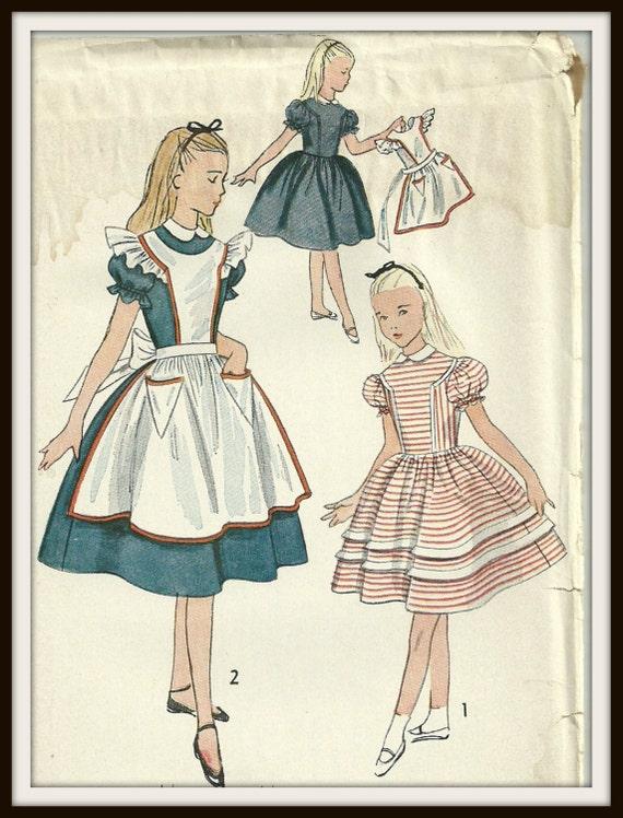 Vintage Simplicity Pattern 3701 Girls Alice In Wonderland