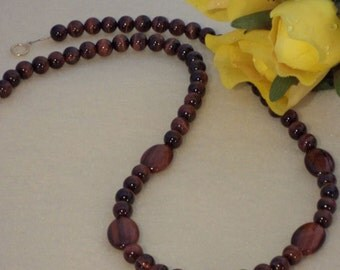 Red Tiger Eye Gemstone Beaded Necklace  FREE SHIPPING