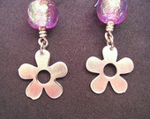 Sterling Silver Flower and pink gold dichroic bead earrings