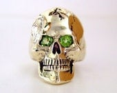 D.A.R.E SOLID BRASS Skull Ring with Peridot Eyes
