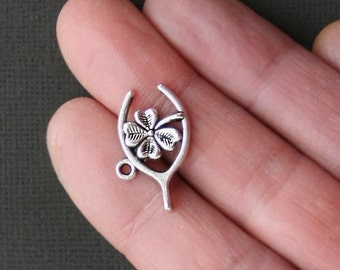 8 Good Luck Charms Antique  Silver Tone Wishbone and Lucky Clover  - SC1883