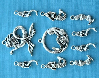 Mermaid Charm Collection Antique  Silver Tone 10 Charms - COL209