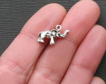 8 Elephant Charms Antique  Silver Tone 3 Dimensional- SC2115