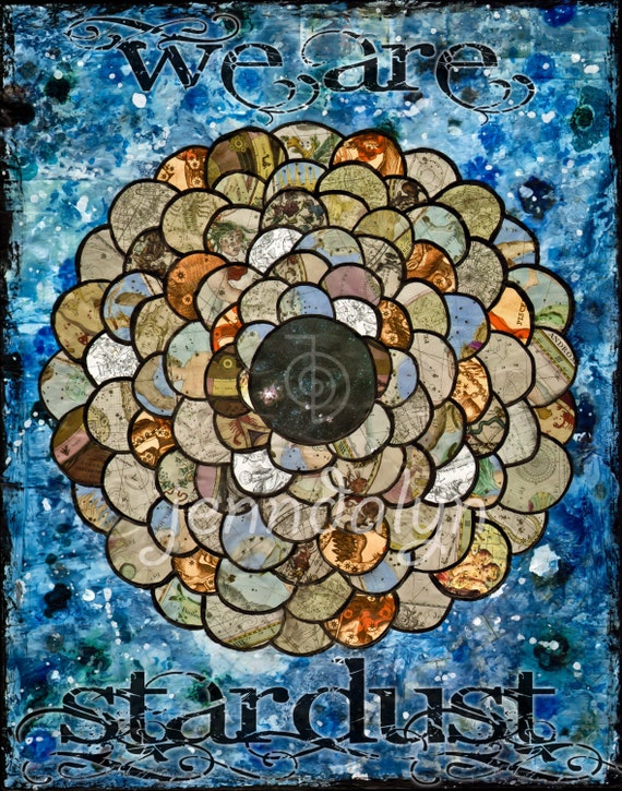 moon and stars print night sky poster celestial maps mixed media art 16 x 20 large format print collage constellations poster