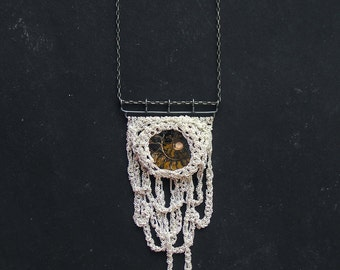ammonite fossil and stalactites silver crochet necklace