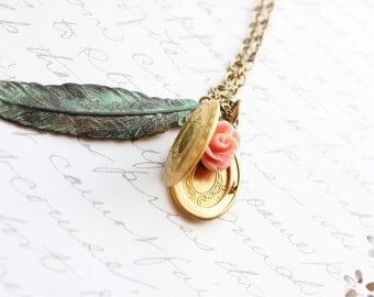 Locket Necklace Feather Pendant Rustic Green Verdigris Patina Pink Rose Charm Gold Brass Photo Locket Long Necklace Woodland Gift For Women