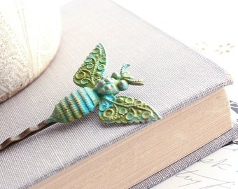 Bee Bobby Pin Vintage Patina Victorian Bee Insect Filigree Wings Verdigris Teal Turquoise Blue Green Nature Hair Accessories Modern Woodland