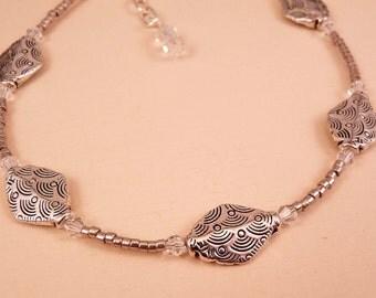 Silver Anklet Crystal Ankle Bracelet Crystal Anklet Beaded Anklet Beaded Jewelry Silver Jewelry Crystal Jewelry