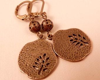Brass Earrings Leaf Earrings Brass Jewelry Leaf Jewelry Beaded Jewelry