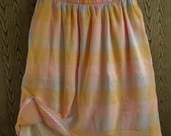 Knee length gathered skirt with eyelet lace petticoat and hip pockets- Pastel plaid madras cotton