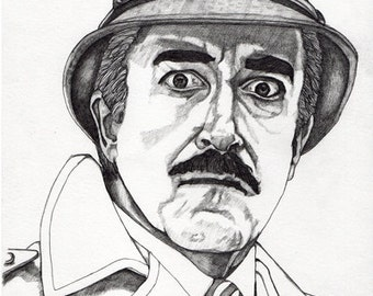 Inspector Clouseau - Pencil Drawing Art Illustration Free Worlwide Shipping