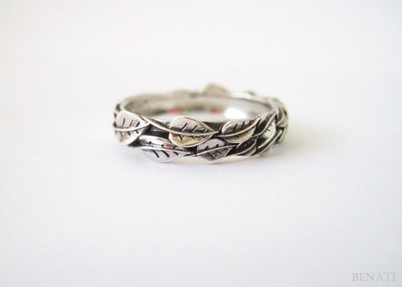 leaf ring in silver handmade jewelry friendship ring new