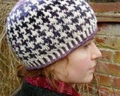 RESERVED FOR ONURAL/// Handknit Fair Isle Houndstooth Beanie (all the purples)