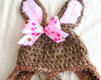 Newborn -Bunny  Hat -  Baby Bunny Hat with Removable Bow Clip  - Baby Bunny Hat - by JoJosBootique