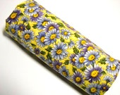 Floral Print Fabric, Hoffman Fabrics, Sewing Material, Quilting Notions, 1 Yard Remnant, Purple, Yellow