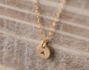 Tiny Initial Necklace - Gold Filled Personalized Handstamped Tiny Circle - Layering Dainty Delicate Everyday Necklace