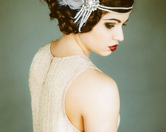 Flapper Headpiece, Vintage Inspired, Bridal Headband, The Great Gatsby, 1920s, 1930s, Party, Roaring 20's, Silver, Gray, Pearl, Feather 103
