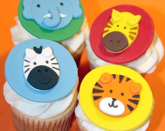 Fondant cupcake toppers Zoo Animals Zebra Tiger Giraffe Elephant