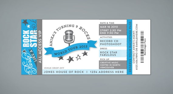 Rock Star Birthday Invitation Concert Ticket Stub Printable