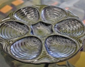 Vintage Hall Iridescent Blue Oyster Plate