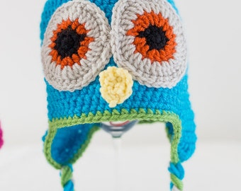 Ready to Ship * Crochet * Aqua Owl Hat with Greenery Details * Toddler Owl Hat * with Earflaps + Ties * Customize + Personalize