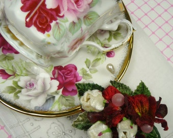 SALE Gift Set English Bone China Tea Cup and Saucer Corsage, Madeira Hankie Vintage Red and White Roses Mothers Day Gift