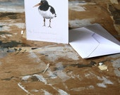 Blank card - The Placid Oyster Catcher - Pencil Drawing
