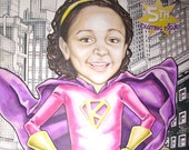 Custom Comic Book Cover Custom Portrait personalized for a GIRL